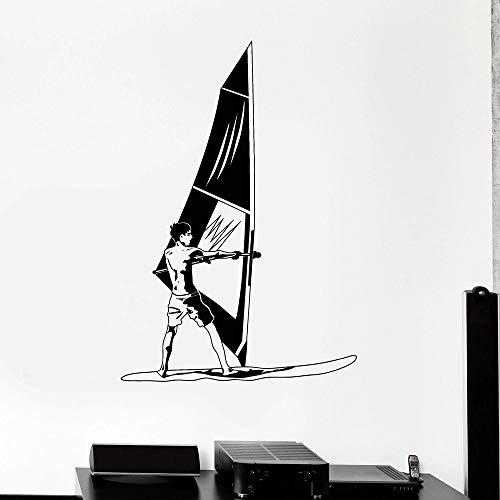 Calcomanía de vinilo para pared de velero, calcomanía de vinilo para pared, windsurf, windsurf, agua, deportes extremos, pegatina para ventana, papel tapiz
