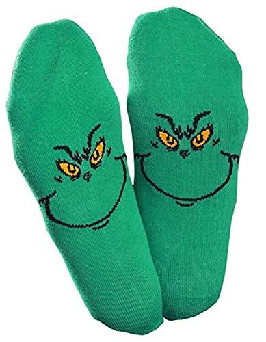 GuliriFe Womens The Grinch Socken Schuhfutter Weihnachtsneuheit Grinches Letters Tube Strumpfwaren Geschenke Stricken Wollsocken für den Winter (D, Einheitsgröße)