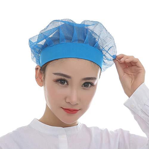 YUENA CARE Arbeitshut Staubkappe Werkstattkappe Schutzhüte Kochmütze für Laboratorien, Fertigung, Fabrikwerkstatt, Food Service Line Blau