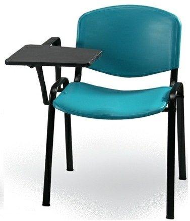 KARISMA - ISO Point D/2 + TAV, Sedia in Plastica Ufficio/Scuola più Tavoletta Ribaltina Scrittoio, Verde Acqua
