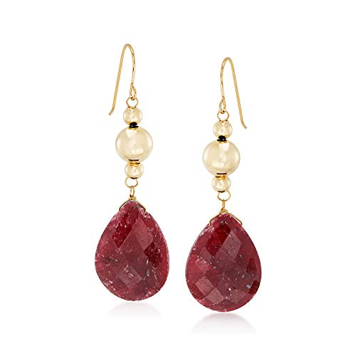Ross-Simons 20.00 ct. t.w. Ruby Drop Earrings in 14kt Yellow Gold
