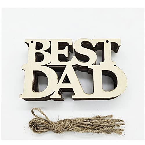 New Wooden Crafts Vatertag Muttertag Kreatives Geschenk Home Outdoor Garten Dekoration hängende Ornamente 10 Stück/Packung (Best Dad)