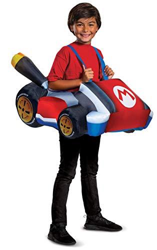 Disfraz de Super Mario, inflable de Nintendo Mario Kart para niño, tamaño infantil, extensible, con personaje