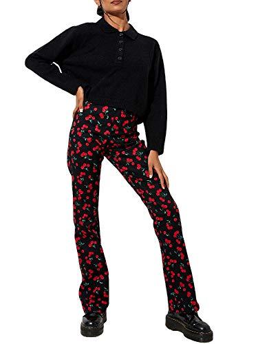 Vialogry Pantalones vaqueros acampanados a rayas sueltos de la impresión de cebra de las mujeres, pantalones sueltos de la cintura alta de la cereza de la tendencia