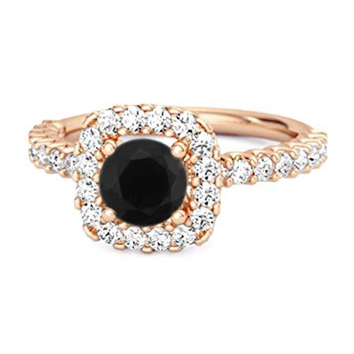 Shine Jewel Multi Elija su Piedra Preciosa Anillo de halo Chapado en Oro Rosa de Plata esterlina 925 de 0.25 Ctw para Regalo de Princesa (9, espinela Negra)