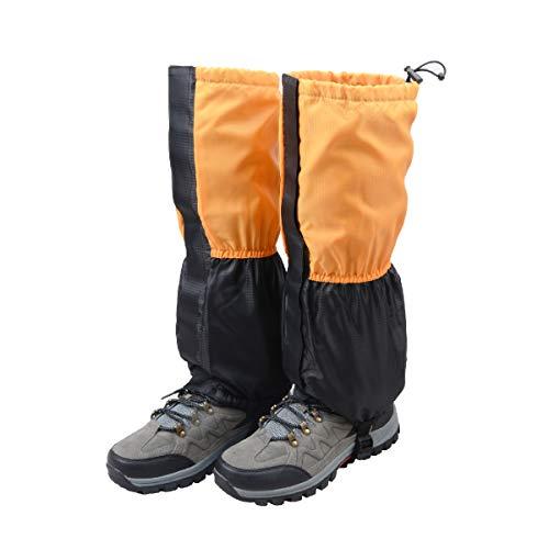 TRIWONDER Unisex Schnee Bein Gaiters Gamaschen wasserdicht Klettern Gamaschen Wandern Jagd Radsport Leggings Bezug (1 Paar) (Orange & Schwarz - Kind)