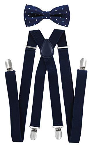 Tirantes Axy para hombre con pajarita, 4 fuertes clips en forma de X, HFLI4 azul Schwarzblaue Hosenträger Breit 2,5cm + Fliege Nr.12
