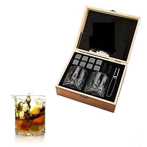 JYDQM Rocas de Whisky Stones de Whisky Stones-Granito Rocas de Whisky - Whisky Gafas en Caja de Madera Regalo Conjunto de Regalos Mejor Beber para Hombres papá