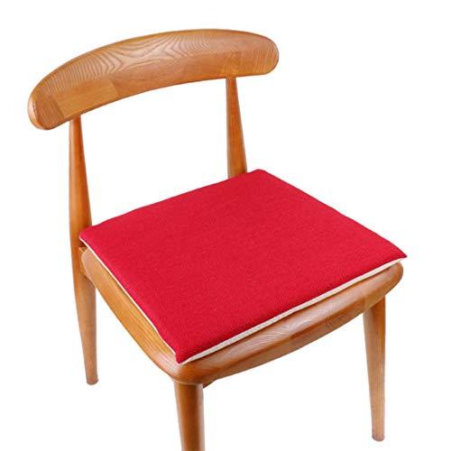 xiaoyamyi Hoch Grad Baumwolle und Leinen Sitzkissen Multipack Außen Wasserfest Stuhl Polster Kissen nur Garten Terrasse Möbel Kissen in Fein Stil - Groß Rot 40 40 3cm