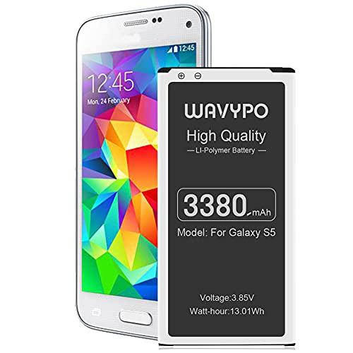 Galaxy S5 Battery, (Upgraded) 3380mAh Wavypo EB-BG900BBC Replacement Battery Li-ion for Samsung Galaxy S5 G900V, G900A, G900F, G900H, I9600, G900P, G900T, G900R4, S5 Spare Battery
