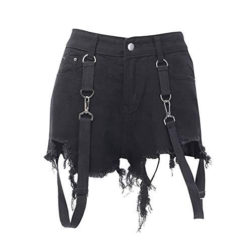 YUNGYE Pantalones Cortos de Mezclilla de Cintura Alta for Mujer Pantalones...