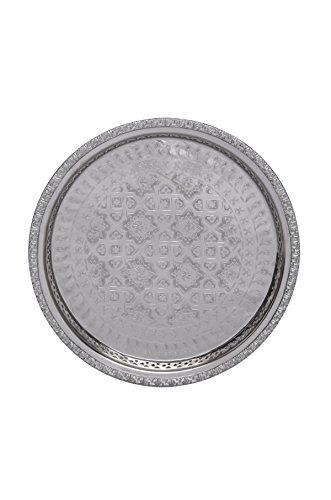 Orientalisches rundes Tablett aus Messing versilbert Nadia | Marokkanisches Teetablett in der Farbe Silber | Orient Silbertablett silberfarbig | Orientalische Dekoration auf dem gedeckten Tisch (Ø 32 cm)