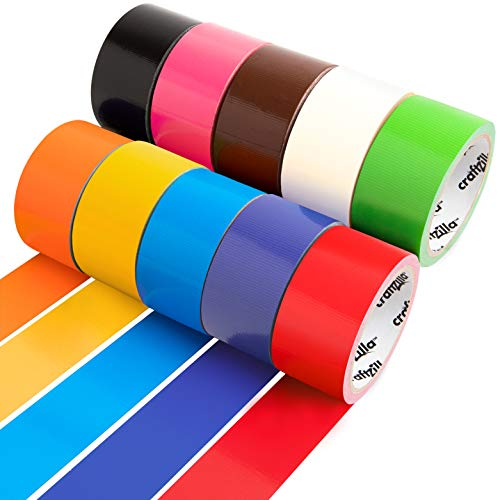 Craftzilla Rainbow Colored Duct Tape Bulk — 10 Bright Duct Tape Colors — 10 Yards x 2 Inch — No Residue, Tear by Hand & Waterproof — Great for Arts & Crafts, Color-Coding, and DIY Projects