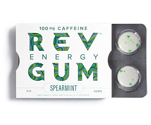 Rev Gum Caffeine Energy Gum | 100mg of Caffeine per Gem | Spearmint Sugar Free Caffeinated Mint Chewing Gum - Low Calorie Chews to Help You Stay Alert, Awake and Focused - 12 Packs (72 Count)