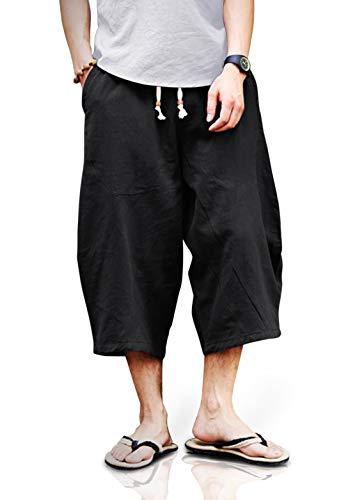 TOTNMC Mens Yoga Pants Baggy Harem 3/4 Capri Pants Loose Fit Linen Trousers Black