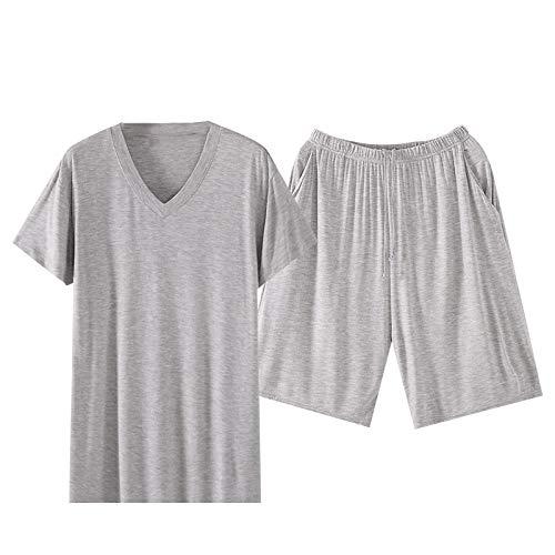 NOBRAND - Pijama de verano para hombre de seda helada que se puede usar al aire libre, sección delgada, modal, manga corta