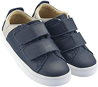 OLD SOLES Boy's & Girl's 6024 Toko Shoe Premium Leather Bicolor Sneaker Shoe with Double Hook and Loop Straps