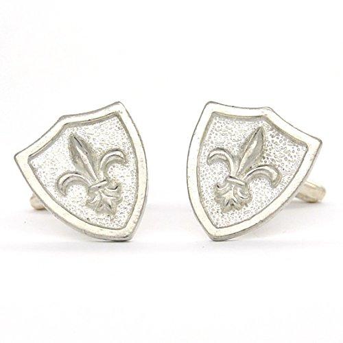 Luxury Fine Pewter Fleur de Lys in Shield Cufflinks, Handcast by William Sturt