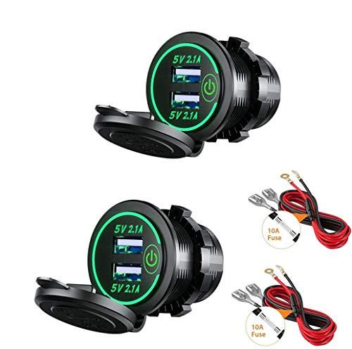 Thlevel 2X Auto USB Ladegerät KFZ USB Steckdose 5V 4.2A Schnellladung mit LED Anzeige, wasserdichte und Staubdicht, für 12V~24V Fahrzeuge KFZ Boot Motorrad SUV Bus LKW Wohnwagen Marine (Grün)