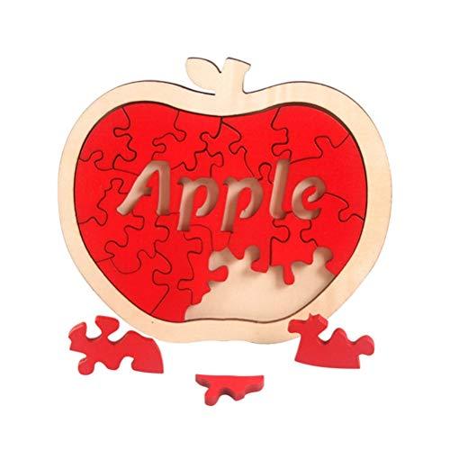 Rompecabezas de madera de manzana irregular en 3D, rompecabezas de madera de manzana irregular 3D, rompecabezas de seguridad no tóxico para niños, juguetes educativos para adultos y niños