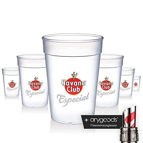 6 x Havana Club Glas Gläser Especial Kunststoff Becher Gastro Bar