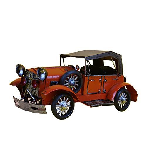 JenLn Modelo de Metal Antiguo Vintage Retro Forjado Classic Car Coche Modelo Decoración Creativa Hogar Cafetería Cabina de Vino Decoración del gabinete de TV (Color : Red, Size : 27x14.5x14.5cm)