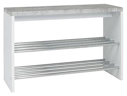 PEGANE Banc en Tube d'acier chromé et MDF Optique béton - Dim : L81 x P30 x H55 cm