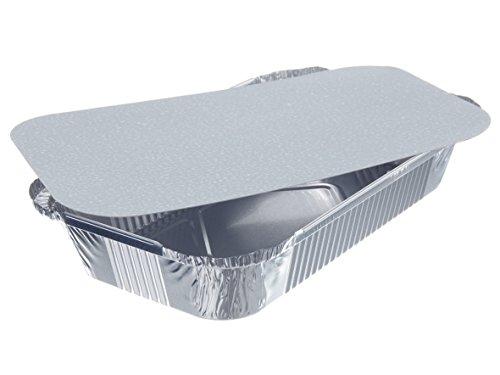 20 Schalen Alu + Einlegdeckel, Pappe PE beschichtet eckig 800ml Menüschalen Aluschalen