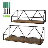 Wall Mount Shelf Rustic Wood Floating Storage Shelves for Kitchen Living Room Bathroom, Set of 2