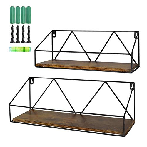 Wall Mount Shelf Rustic Wood Floating Storage Shelves for Kitchen Living Room -