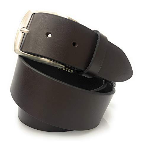 Cinture Dautore, cintura sportiva in vero cuoio, h40 colore testa di moro. Made in Italy
