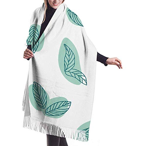 Kevin-Shop 27 'x 77' Fringsjaal voor mannen, pepermunt, kruiden, keuken, dames, sjaal, zomer, gezoomde sjaals voor vrouwen, stijlvolle grote warme deken
