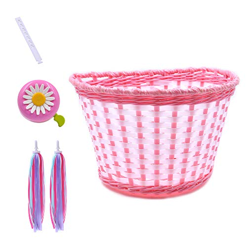 ANZOME Girl's Bike Basket, Front Handlebar Kid's Bicycle Basket with Bike Bells Streamers for Kids Chirlden Gift DIY Sets - Pink
