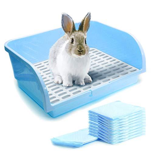 CalPalmy Blue X-Large Rabbit Litter Box with 10 Bonus Pads, Drawer, Corner Toilet Box for Adult Guinea Pigs, Chinchilla, Ferret, Galesaur, Small Animals