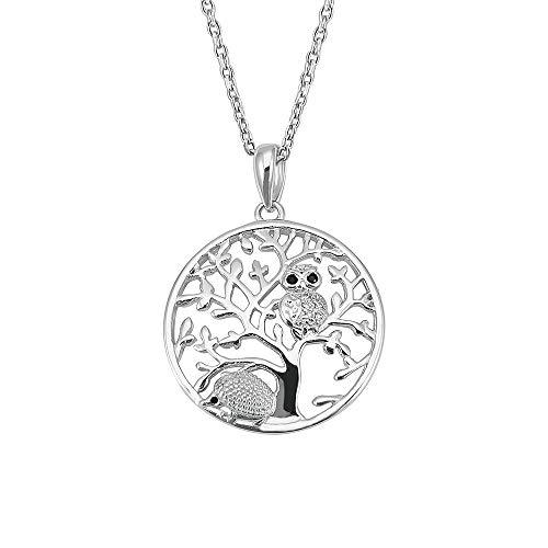 Kiara Sieraden 925 Sterling Zilver Rhodium Plated Tree Of Life Hanger Ketting Met Een Uil & Egel Op 18