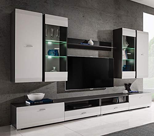 Moderne Wohnwand Anbauwand Cleo in Farbe Graphit+Weiß Schrankwand mit Led Beleuchtung 10 (Wohnwand)