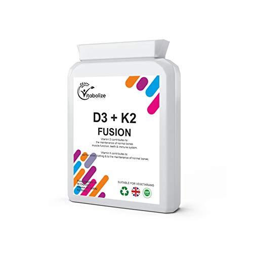 Vitamin D3 + K2 | Vitamin D 3000 IU and Vitamin K2 100ug MK7 | 90 Capsules | Made in UK | by Vitabolize