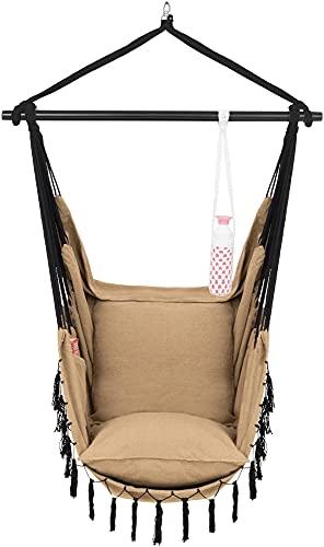 VITA5 Silla Colgante con 2 Cojines - Portavasos y Compartimento para Libros - Sillon Colgante XXL - Carga hasta 225 kg - Silla Hamaca Colgante para Interior y Exterior (jardín) (Marrón)
