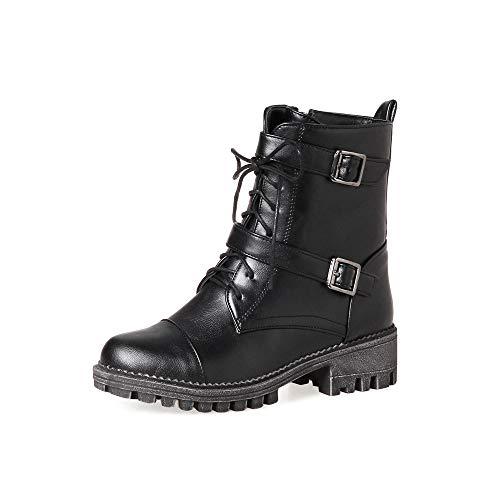 ZODOF Botas Exquisitas Medieval Style para Mujer,Botas de Estilo Militar Medio de Moda Zapatos de Mujer de Hebilla de Cuero Artificial Patchwork(Negro,Caqui,Amarillo) 36/41