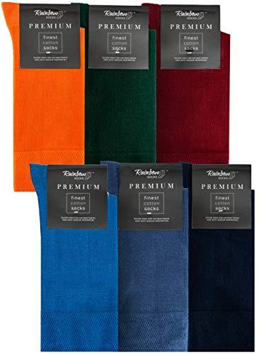 Rainbow Socks - Hombre Elegantes Calcetines Antibacterianos con Iones de Plata - 6 Pares - Naranja Botella Verde Rojo Oscuro Azul Jeans de Colores Azul Oscuro - Talla 47-50