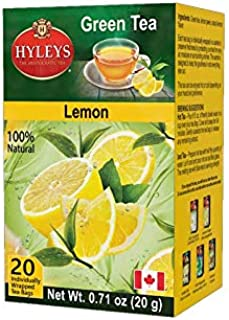 Hyleys Natural Green Tea & Lemon Flavor - 20 Tea Bags (Gmo Free, Gluten Free, Dairy Free, Sugar Free & 100% Natural)