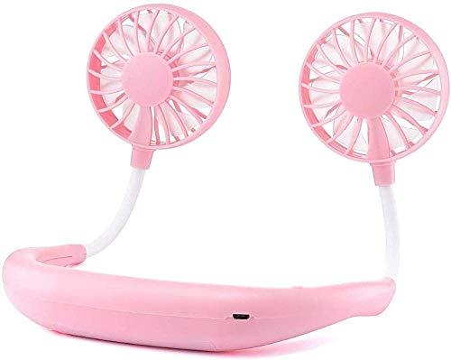 Ventilador portátil del cuello, Mini Mini USB Fan recargable Ventilador personal portátil, ventilador de escritorio, Escritorio Fan de la calificación con cabeza de viento doble 3 velocidades para el