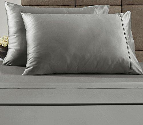 Chateau Collection Home Hôtel de Luxe 100% Coton peigné 300 Fils de lit avec taies d'oreiller Bonus. Mega Vente – Plus Bas Prix Garanti, Coton, Silver, Entier