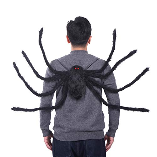 HOOGAR Halloween Adult Spider Backpack Costume Black Colorful Man Spider Clothes Funny Woman Candy Bag 8 Spider Legs…