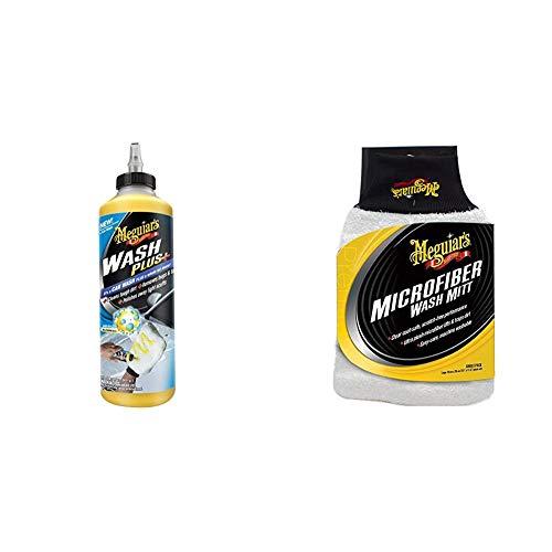 Meguiar's G25024EU Wash Plus+ Autoshampoo, 710ml & X3002EU Microfibre Wash Mitt Mikrofaser-Waschhandschuh