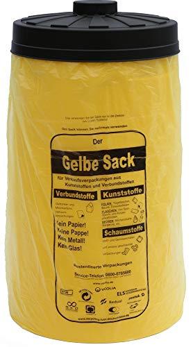 Will-Jeder Sacktonne gelb mit schwarzem Deckel für gelben Sack Mülleimer Müllsackständer Gelber Sack Ständer