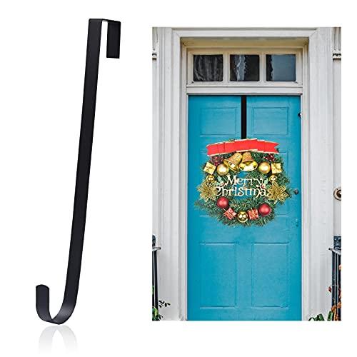 Wreath Hanger for Front Door Decor, Door Hanger Hook Christmas Halloween Wreath Over The Door Hooks Decorations (Black)