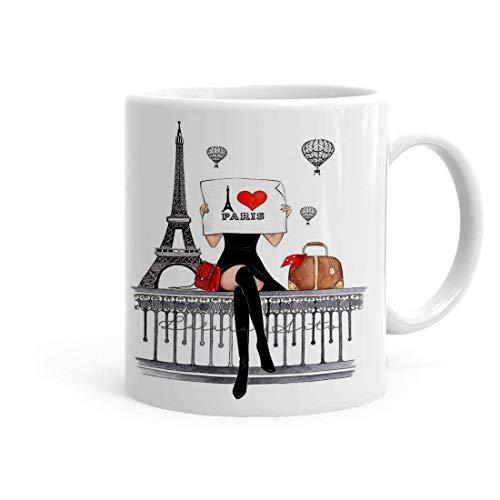 NA Taza de té y café con Estampado de cerámica con Motivo de Love Paris