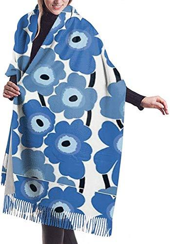 Irener Wickeldecke Schal, Marimekko Blue Floral Women Soft Cashmere Scarf Large Pashminas Shawl Wrap Shawl 77