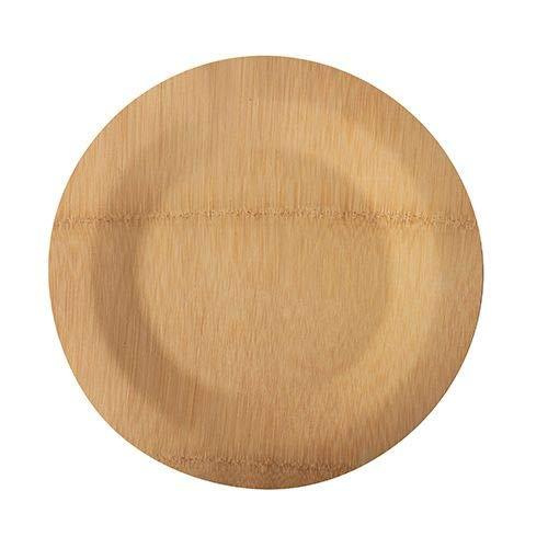 Papstar 88040 - Platos de bambú sin dividir (diámetro de 23 cm, 1,5 cm, 10 unidades)